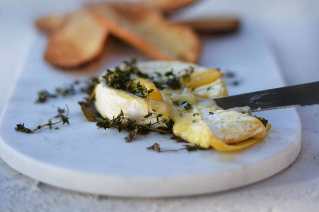 Baked Triple Cream Brie with Lemon and Thyme
