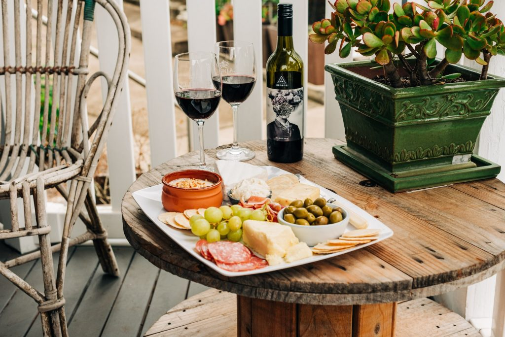 Platter with Australian made cheese and wine